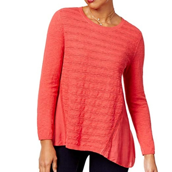 Style & Co Sweaters - Style & Co High-Low Contrast Sweater